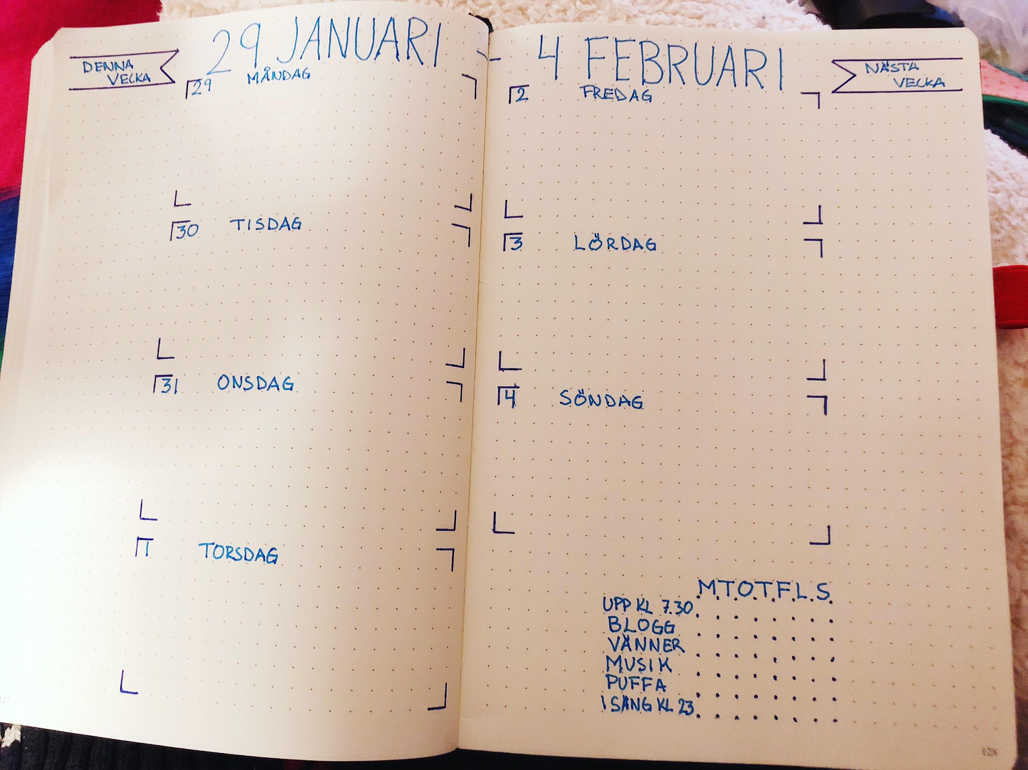 Veckoplanering i min bulletjournal