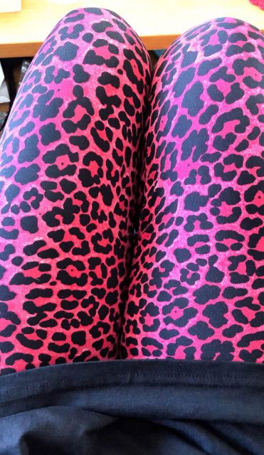 Rosa leopardleggings - Amoll.net